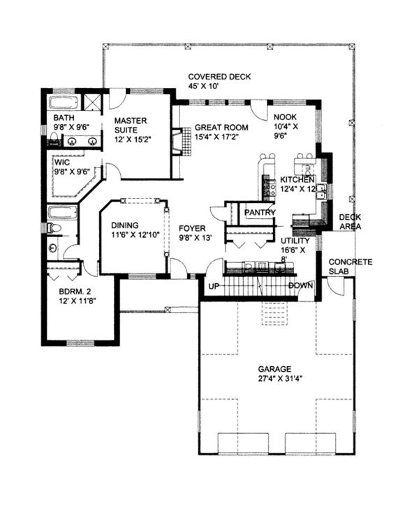 Craftsman Floor Plan - Main Floor Plan Plan #117-859