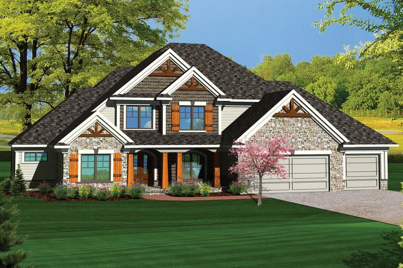 Craftsman Exterior - Front Elevation Plan #70-1065
