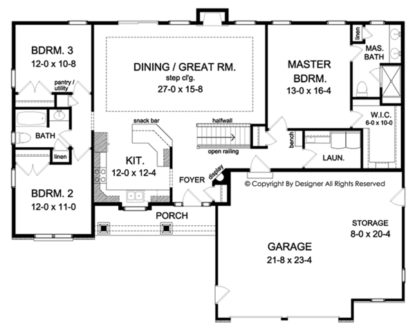 Ranch Floor Plan - Main Floor Plan Plan #1010-139