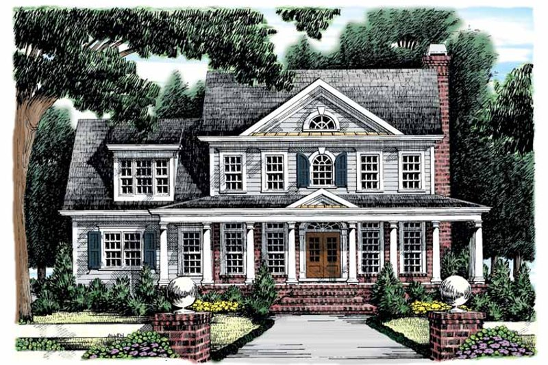 Classical Exterior - Front Elevation Plan #927-865
