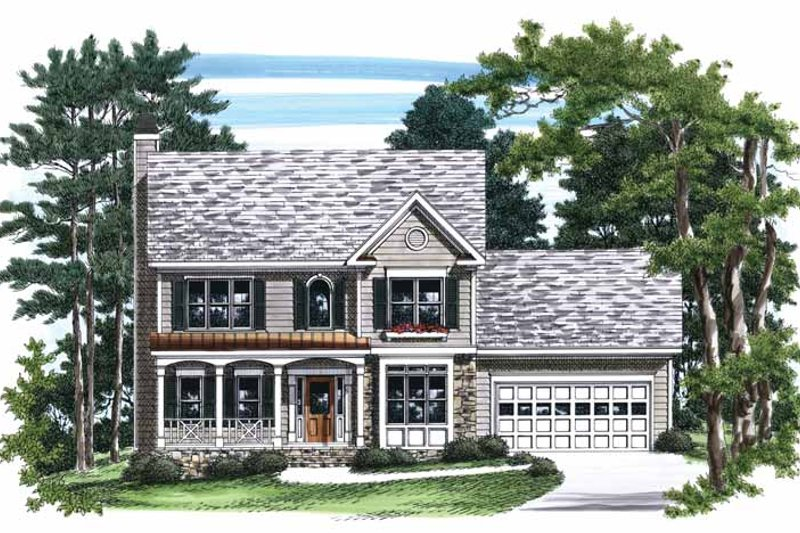 Colonial Exterior - Front Elevation Plan #927-727