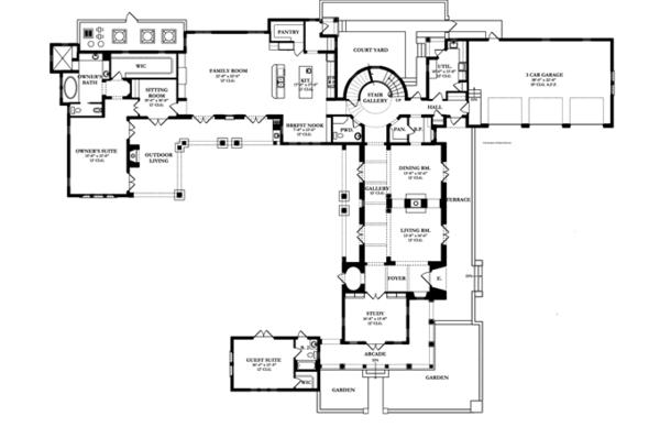Mediterranean Floor Plan - Main Floor Plan Plan #1058-12