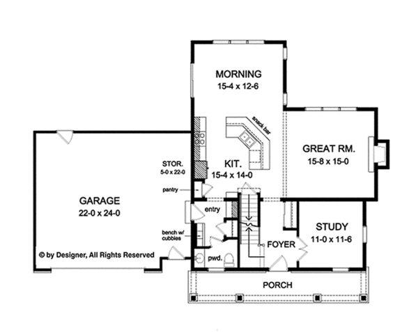 Country Floor Plan - Main Floor Plan Plan #1010-124
