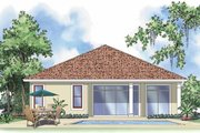 Mediterranean Style House Plan - 2 Beds 2 Baths 1281 Sq/Ft Plan #930-378 Exterior - Rear Elevation