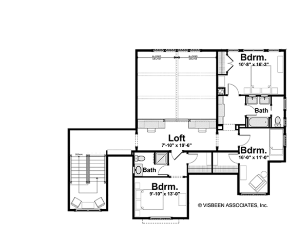 Craftsman Floor Plan - Upper Floor Plan Plan #928-184