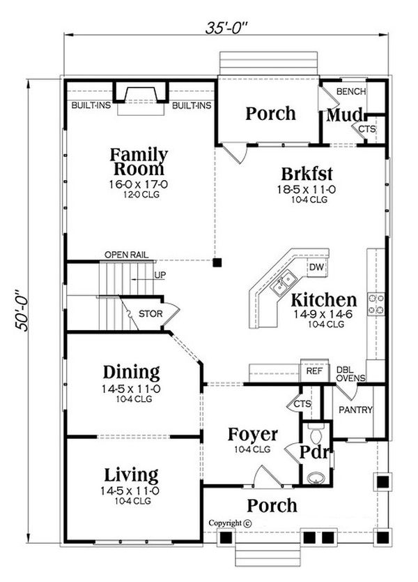 Country Floor Plan - Main Floor Plan Plan #419-303