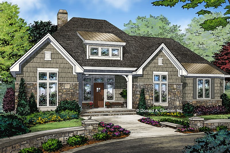 Ranch Exterior - Front Elevation Plan #929-1011