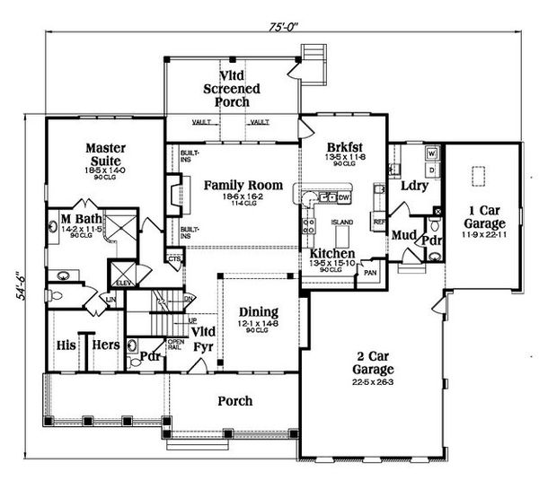 Country Floor Plan - Main Floor Plan Plan #419-267