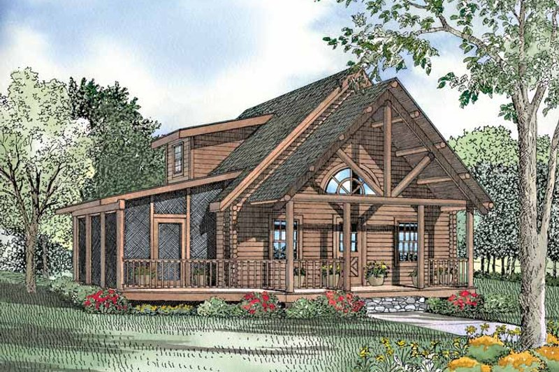 Log Exterior - Front Elevation Plan #17-3029