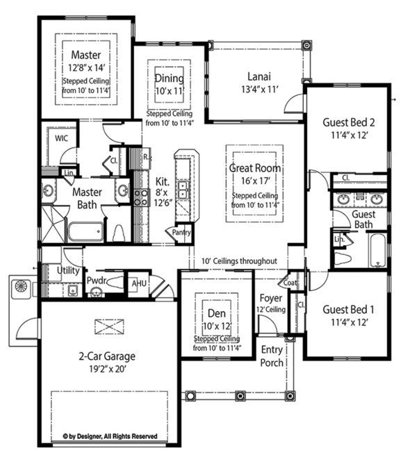 Mediterranean Floor Plan - Main Floor Plan Plan #938-33