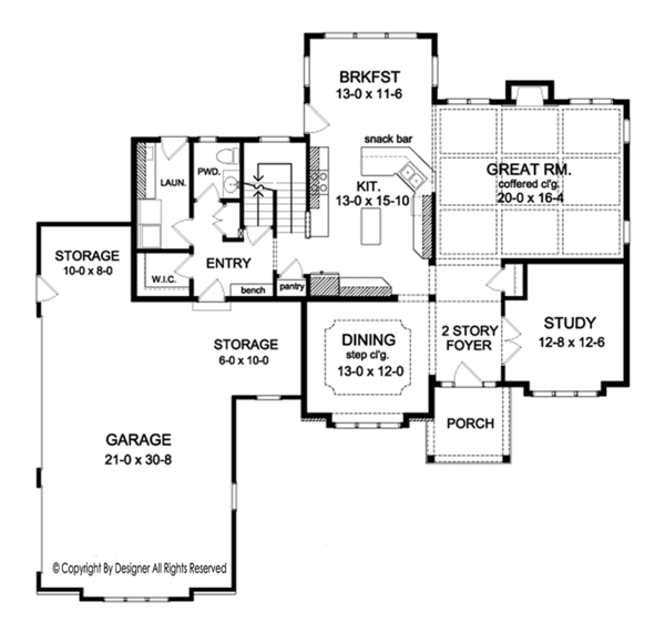 Colonial Floor Plan - Main Floor Plan Plan #1010-167