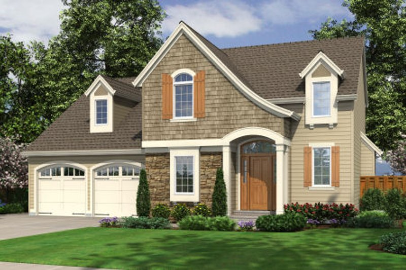 Colonial Exterior - Front Elevation Plan #46-466