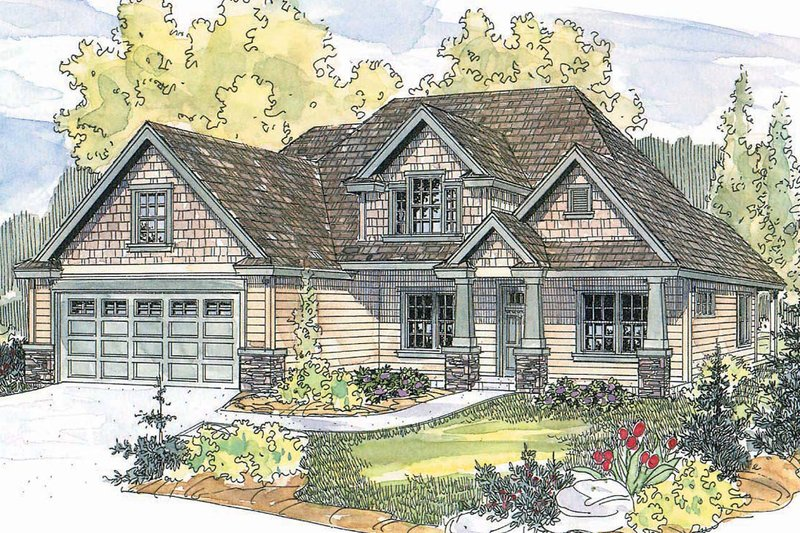 Craftsman Exterior - Front Elevation Plan #124-560
