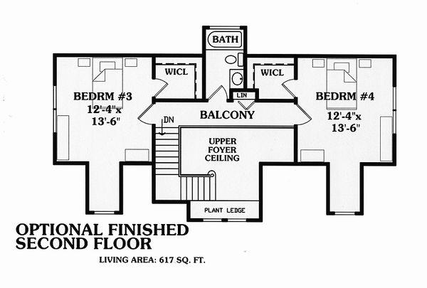 Country Floor Plan - Upper Floor Plan Plan #456-11
