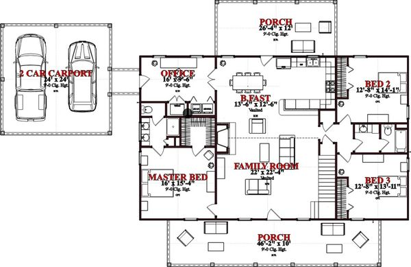 Cottage Floor Plan - Main Floor Plan Plan #63-399