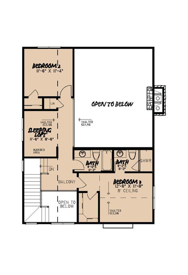 Cabin Floor Plan - Upper Floor Plan Plan #923-25