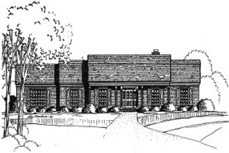 Ranch Style House Plan - 4 Beds 2.5 Baths 2415 Sq/Ft Plan #37-206 Exterior - Front Elevation