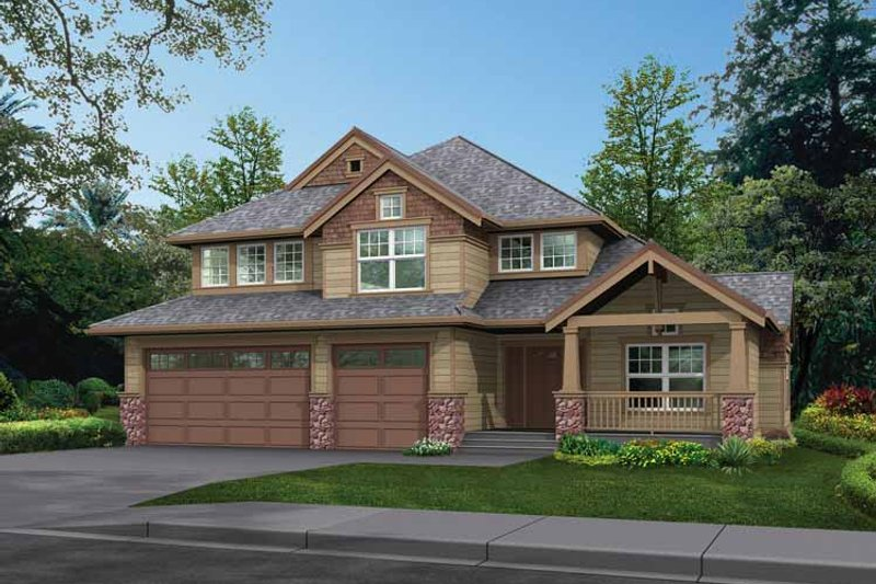 Craftsman Exterior - Front Elevation Plan #132-295