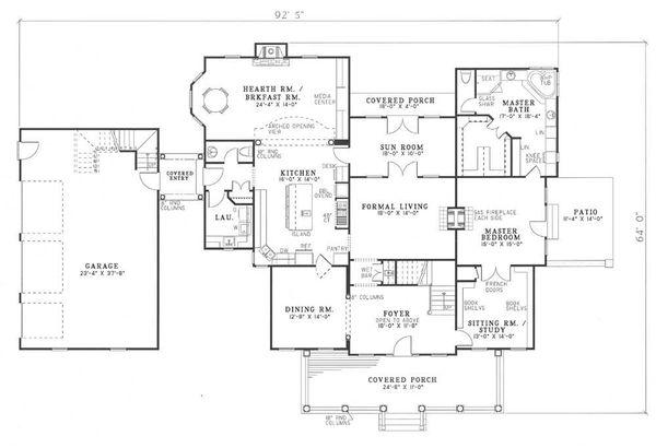 Traditional Floor Plan - Main Floor Plan Plan #17-225