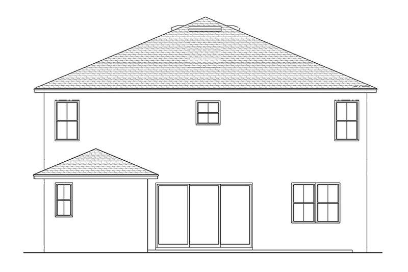 Colonial Exterior - Rear Elevation Plan #1058-68 - Houseplans.com