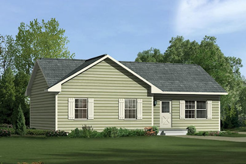 Ranch Style House Plan - 3 Beds 2 Baths 1104 Sq/Ft Plan #57-222