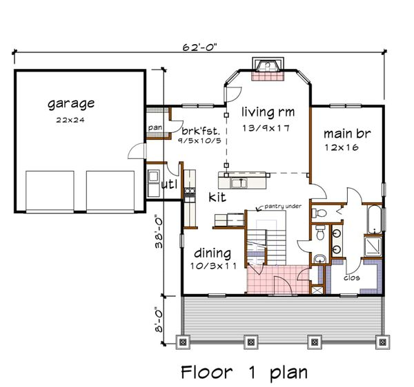 Craftsman Floor Plan - Main Floor Plan #79-259