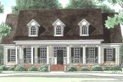Southern Style House Plan - 4 Beds 3.5 Baths 3435 Sq/Ft Plan #1054-19 Exterior - Front Elevation