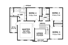Traditional Floor Plan - Upper Floor Plan Plan #1010-94