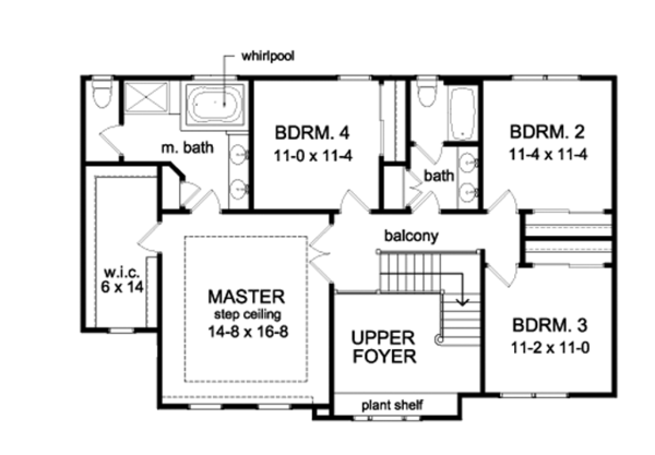 Traditional Floor Plan - Upper Floor Plan Plan #1010-94