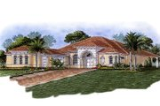 Mediterranean Style House Plan - 3 Beds 3.5 Baths 2951 Sq/Ft Plan #27-289 Exterior - Front Elevation