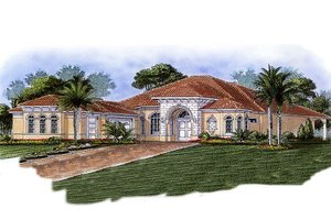 Mediterranean Exterior - Front Elevation Plan #27-289