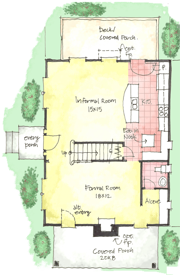 Colonial Floor Plan - Main Floor Plan Plan #1053-38