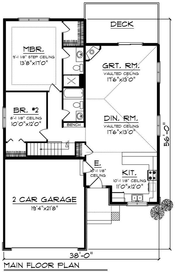 Ranch Floor Plan - Main Floor Plan Plan #70-1235