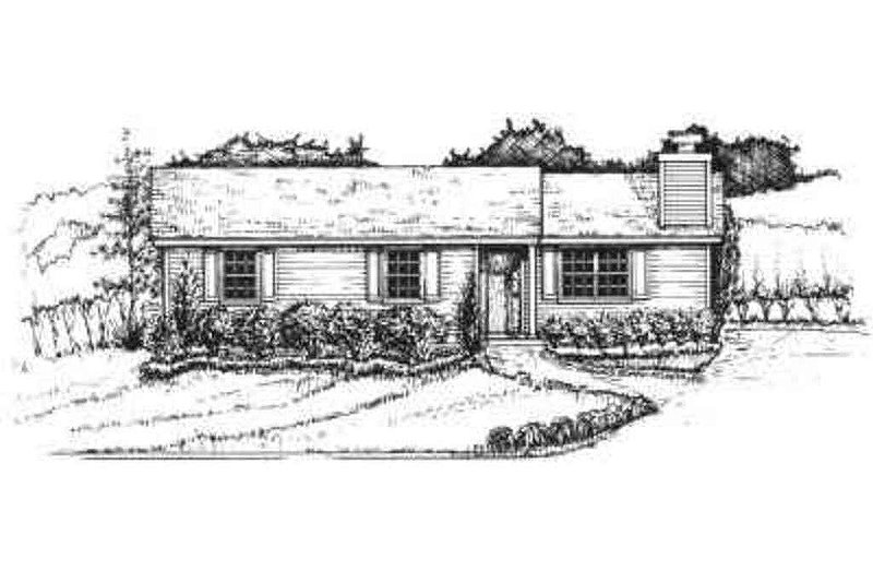 Ranch Style House Plan - 3 Beds 1.5 Baths 1056 Sq/Ft Plan #30-109 Exterior - Front Elevation