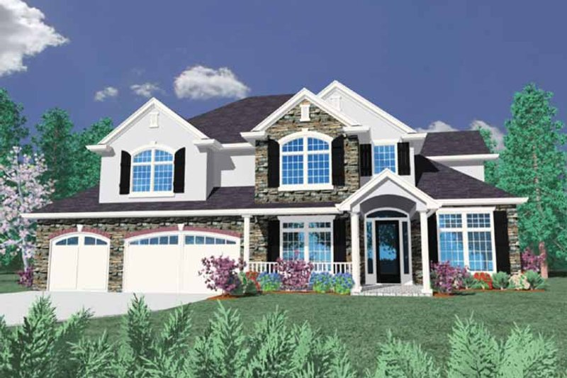 European Exterior - Front Elevation Plan #509-389