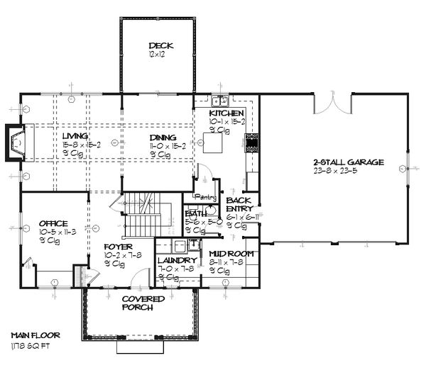 Craftsman Floor Plan - Main Floor Plan Plan #901-28
