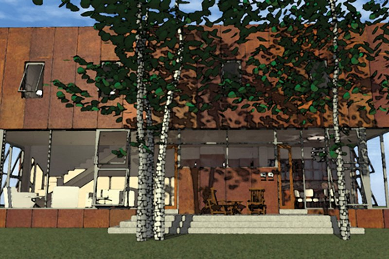 Contemporary Exterior - Front Elevation Plan #64-315