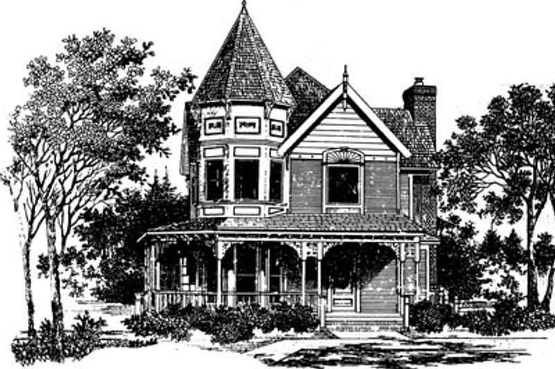 Victorian Style House Plan - 3 Beds 2.5 Baths 1691 Sq/Ft Plan #43-102 Exterior - Front Elevation