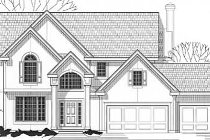 Traditional Style House Plan - 4 Beds 3.5 Baths 2685 Sq/Ft Plan #67-539 Exterior - Front Elevation