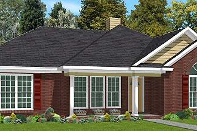 Traditional Style House Plan - 3 Beds 2 Baths 1618 Sq/Ft Plan #63-172 Exterior - Front Elevation