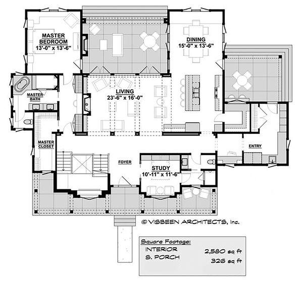 Home Plan - Farmhouse Floor Plan - Main Floor Plan #928-350