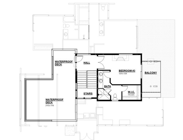 Modern Floor Plan - Upper Floor Plan #895-113