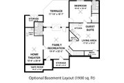 Craftsman Style House Plan - 3 Beds 2 Baths 1800 Sq/Ft Plan #56-633 Floor Plan - Lower Floor Plan
