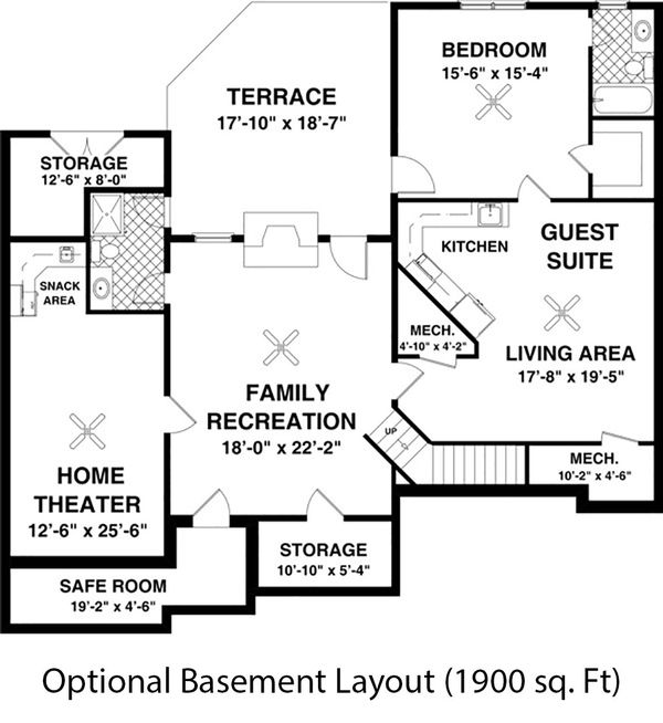 Craftsman Floor Plan - Lower Floor Plan Plan #56-633