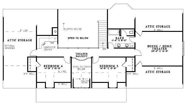 Country Floor Plan - Upper Floor Plan Plan #17-1161