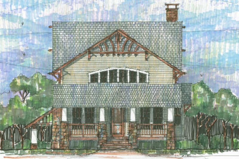 Craftsman Style House Plan - 4 Beds 3.5 Baths 3663 Sq/Ft Plan #426-8 Exterior - Front Elevation