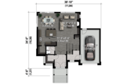 Contemporary Style House Plan - 3 Beds 1 Baths 1896 Sq/Ft Plan #25-4433 Floor Plan - Main Floor Plan
