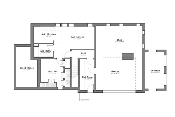 Craftsman Floor Plan - Lower Floor Plan #926-3