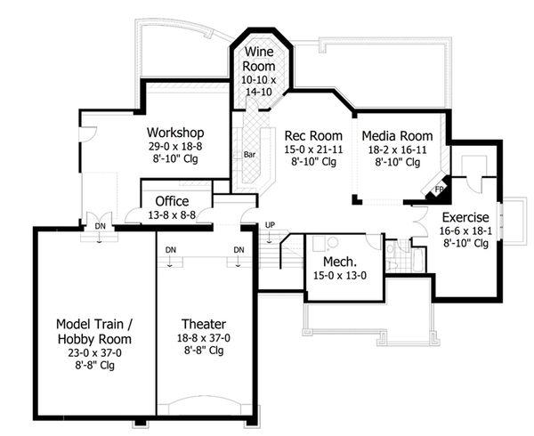 Craftsman Style House Plan - 4 Beds 3.5 Baths 4427 Sq/Ft Plan #51-556 Floor Plan - Lower Floor Plan