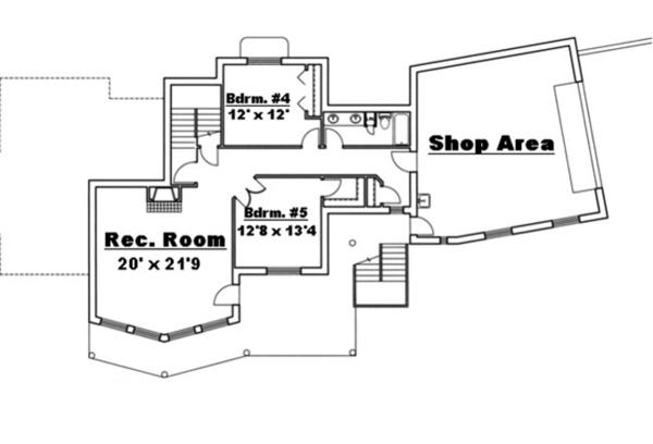 Traditional Floor Plan - Lower Floor Plan Plan #117-830
